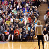 THB photo/John P. Cleary<br /> Amanda Byrd, of Sparrow Clubs of Indiana, talks to Highland Middle School students about what Sparrow Clubs are all about and how they can get involved and help a fellow student during a school convocation Thursday morning.