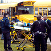 THB photo/John P. Cleary<br /> A crash involving two Anderson Community School buses sent six students to the hospital Monday afternoon after a rear-end collision at 29th and Madison Ave.