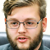 John P. Cleary | The Herald Bulletin<br /> Madison-Grant junior Robby Newbauer talks about his experience with E-learning.