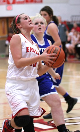 Photo by Chris Martin for THB<br /> Payton Dellinger goes for a layup as the Lady Eagles beat Tipton at home Thursday night.
