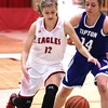 Photo by Chris Martin for THB<br /> Frankton's Sydney Tucker drives to the basket Thursday night in a win against Tipton