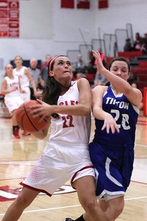 Chris Martin | For The Herald Bulletin<br /> Frankton's Katie Key drives to the basket on a fast break Thursday night against Tipton