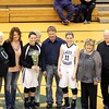 Photo by Chris Martin for The Herald Bulletin<br /> Pendleton's Morgan Landes is recognized with her family at center court Saturday for Senior Day