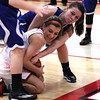 Photo by Chris Martin for THB<br /> Emily Benefiel fights for a loose ball against two Tipton defenders in a home win Thursday night