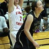 Photo by Chris Martin for The Herald Bulletin<br /> Liberty Christian's Kayla West shoots a 3 pointer Monday as the Lady Lions hosted Daleville