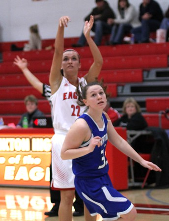 Photo by Chris Martin for THB<br /> Katie Key hits a three point shot Thursday night in a win against Tipton
