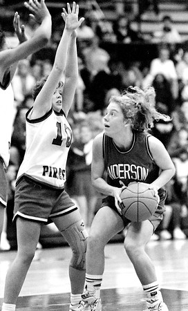 THB file photo<br /> Madison Heights' Melissa Graham defends Anderson's Sarah Armington in their game in the 1991 Anderson sectional tournament.