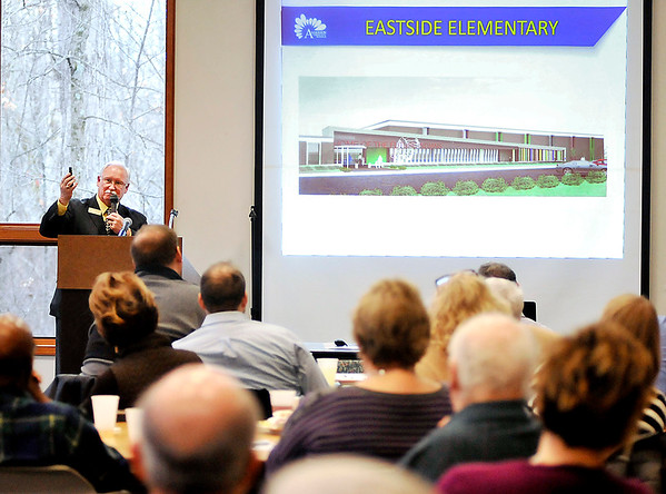 John P. Cleary |  The Herald Bulletin<br /> ACS Superintendent Terry Thompson gives his ACS facilities vision plan to the Anderson Rotary Club Tuesday.