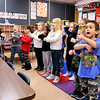 John P. Cleary |  The Herald Bulletin<br /> Killbuck Kindergarten Extension teacher Jamey Knight leads her class in practicing sight words as they watch a video Monday.