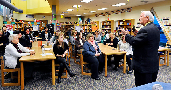 John P. Cleary    The Herald Bulletin<br /> ACS Superintendent Terry Thompson shares with Eastside Elementary teachers and staff his FIRST facilities improvement plan Tuesday morning before making it public later that day.