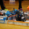 Competing robots at work during the VEX I. Q. Challenge at Frankton Elementary School.