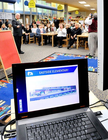 John P. Cleary |  The Herald Bulletin<br /> ACS Superintendent Terry Thompson shares with Eastside Elementary teachers and staff the district's vision plan that will effect them and their school through a power point presentation Tuesday morning.