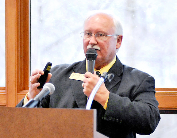 John P. Cleary |  The Herald Bulletin<br /> ACS Superintendent Terry Thompson outlines his ACS facilities vision plan to the Anderson Rotary Club Tuesday.