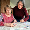 John P. Cleary |  The Herald Bulletin<br /> Cathy Stewart and Betty Knapp look over a map of  Washington D.C. as they prepare for their trip there for the Women's March on Washington Saturday Jan. 21st.