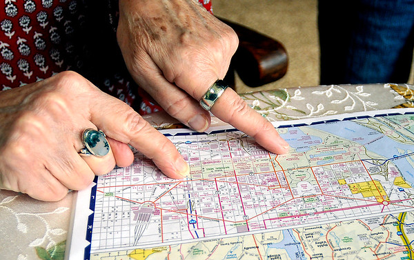 John P. Cleary |  The Herald Bulletin<br /> Cathy Stewart points to the area on a map of  Washington D.C. of the route of the Women's March on Washington Saturday Jan. 21st.