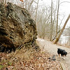 Don Knight   The Herald Bulletin<br /> Brian Hovermale walks his dog Chance along the White River on Trail 5 at Mounds State Park on Monday. Several people were out on the trails taking advantage of the unseasonable warm weather.