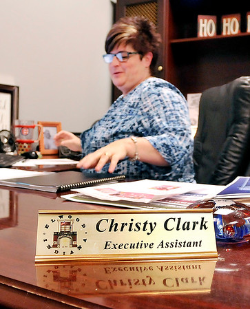 John P. Cleary |  The Herald Bulletin<br /> Christy Clark is the administrative assistant to Elwood Mayor Todd Jones.