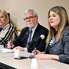 John P. Cleary |  The Herald Bulletin<br /> Rep. Melanie Wright, right, gives her response to a question as Rep. Terri Austin and Sen. Tim Lanane listen during the first Thirst House Legislative session held Monday evening at the Anderson Public Library.