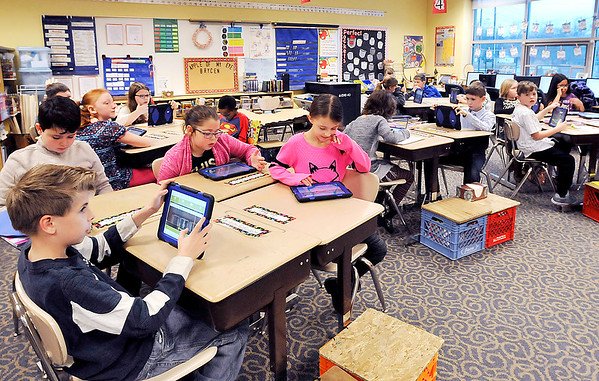 John P. Cleary |  The Herald Bulletin<br /> Students in Dawnelle Sachse's 4th grade plus class at Eastside Elementary School use the Sumdog program. The class placed third in the nation in a Sumdog competition.