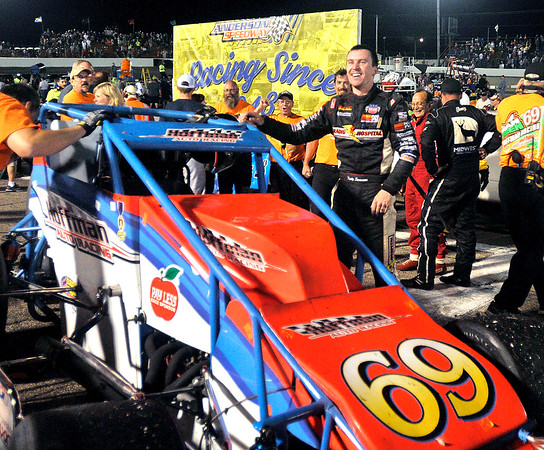 John P. Cleary   for The Herald Bulletin   FILE PHOTO<br /> 2016 Pay Less Little 500 sprint car race winner Kody Swanson and the winning Hoffman Auto Racing No. 69 sprint car.