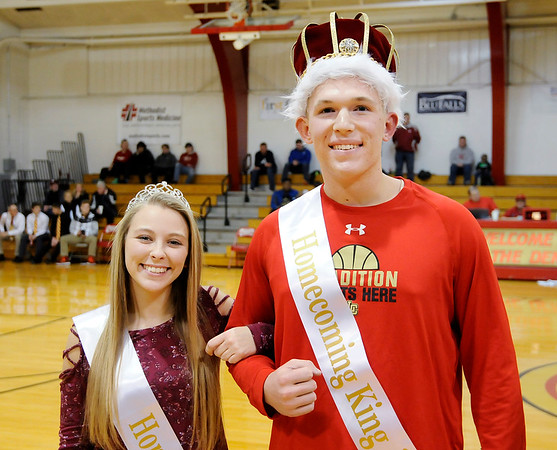 Don Knight    The Herald Bulletin<br /> Liberty Christian Homecoming King and Queen Preston Grant and Daria Wells were introduced between games of the Lions double header against Indianapolis Metropolitan on Saturday. The school held their first homecoming dance on Friday.