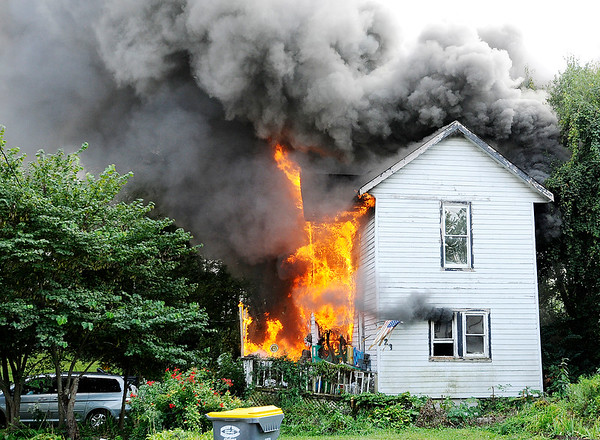 Don Knight | The Herald Bulletin   FILE PHOTO<br /> This home in the 900 block of of East 10th St. was destroyed by fire on Tuesday.