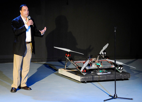 Don Knight    The Herald Bulletin<br /> Pete Bitar talks about the VertiPod during Pitch Night at Mainstage Theatre on Thursday.