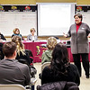 Mark Maynard | for The Herald Bulletin<br /> Alexandria-Monroe School Superintendent Melissa Brisco explains the various options for the system to the audience at the 1028 hearing on Monday evening.