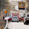 John P. Cleary | The Herald Bulletin<br /> Icy roads caused numerous accidents throughout Madison County Wednesday morning like this one on CR 500 East at the White River bridge near Chesterfield.