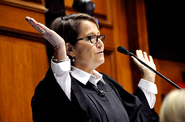 Indiana Chief Justice Loretta Rush makes a point during her State of the Judiciary speech Thursday at the Indiana Statehouse.
