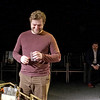 "Mark Maynard | for The Herald Bulletin<br /> While Director David Coolidge looks on, Gabriel Porch rehearses his role as Serge in the Alley Theatre presentation of the play ""Art."""