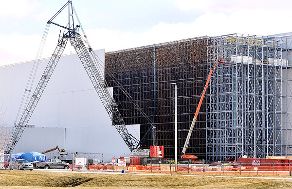 John P. Cleary   The Herald Bulletin<br /> A contract worker was injured Tuesday while working on the 30,400 square-foot expansion of the automated storage facility at the Nestle plant in Anderson. This is the construction site at the facility as of Tuesday afternoon.