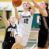 Don Knight |  The Herald Bulletin<br /> Pendleton Heights' Lauren Landes drives for a layup as the Arabains hosted the Noblesville Millers on Thursday.