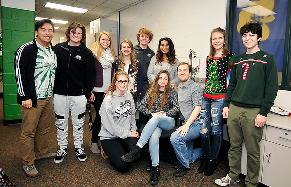 John P. Cleary |  The Herald Bulletin<br /> Pendleton Heights High School's WEEM-FM radio station has been named a finalist for national award. These student staff members were named as finalists also.