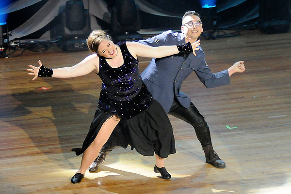 Don Knight    The Herald Bulletin<br /> Erin Jennings and Xavier Medina perform their dance in the style of Jive/Samba during Dancing Like the Stars at the Paramount on Saturday.