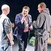 "Mark Maynard | for The Herald Bulletin<br /> Director David Coolidge gives instructions to actors Raymond Kester (Marc) and Andrew Persinger (Yvan) during a rehearsal of ""Art"" at the Alley Theatre."