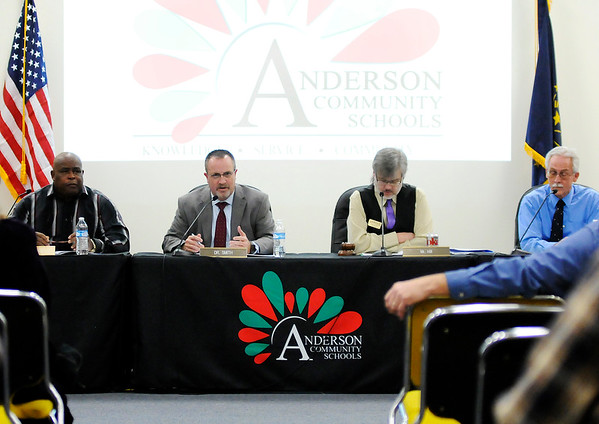 Don Knight |  The Herald Bulletin<br /> Interim Superintendent Tim Smith speaks during the Anderson Community Schools board meeting on Tuesday. The board held a hearing and passed the resolutions necessary to put two referendum on the ballot in May.