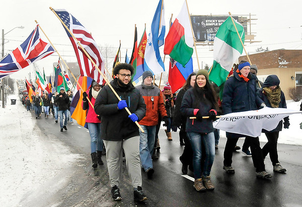 John P. Cleary   The Herald Bulletin<br /> Anderson University held a Peace & Justice March Monday, marching from the Paramount Theatre after the city-wide MLK celebration to Reardon Auditorium.
