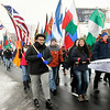 John P. Cleary | The Herald Bulletin<br /> Anderson University held a Peace & Justice March Monday, marching from the Paramount Theatre after the city-wide MLK celebration to Reardon Auditorium.