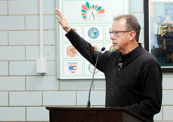 Don Knight |  The Herald Bulletin<br /> David Jones raises his concerns about tax increases on agriculture land during Anderson Community Schools 1028 hearing on Tuesday.
