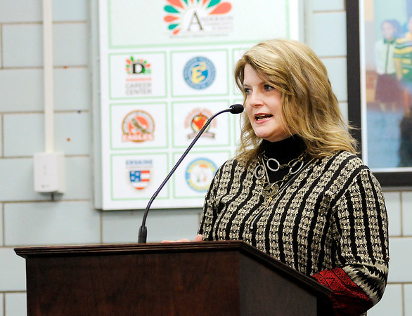 Don Knight |  The Herald Bulletin<br /> Donna Hawes speaks in favor of Anderson Community Schools referendum during their 1028 hearing on Tuesday. The hearing was part of the process to put the referendum on the ballot in May.
