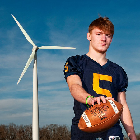 Don Knight | The Herald Bulletin<br /> Defensive football player of the year Shenandoah's Dallas Pugsley.