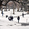 John P. Cleary | The Herald Bulletin<br /> With temperatures climbing to above normal for a change, a walk through the <br /> snow-covered valley of Anderson University was a more pleasant trip for students going to and from classes Thursday afternoon.