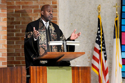 Don Knight | The Herald Bulletin Reverend John Lambert delivers the Eulogy for Johnny Wilson at the First United Methodist Church on Saturday.