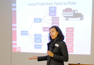 Don Knight | The Herald Bulletin Jodee Ellett from Indiana University talks about the different ways local food gets distributed as the Madison County Local Food Network held their first summit at the Anderson Impact Center on Thursday.