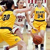 John P. Cleary | The Herald Bulletin<br /> Frankton's Sierra Southard tries to get a step on Monroe Central's Hannah McCollum.