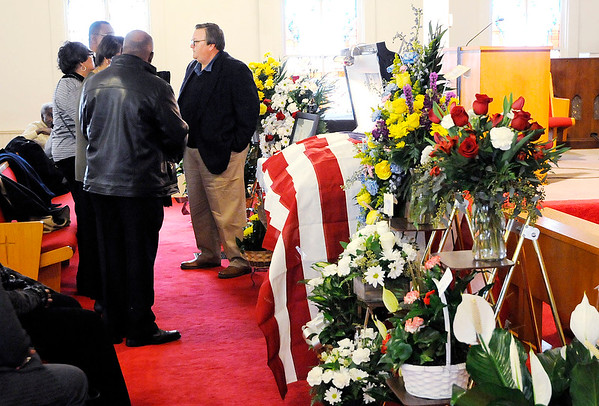 Don Knight | The Herald Bulletin Friends and family gathered at Allen Chapel AME Church for a visitation for Johnny Wilson on Friday. His funeral will be Saturday at 11 a.m. at First United Methodist Church with a visitation one hour prior to the service.