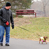 Don Knight | The Herald Bulletin<br /> Mike Bondurant walks his dachshund Charlie around Shadyside park on Friday. Bondurant walks Charlie a couple times a day and says she just loves it.