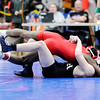 Don Knight | The Herald Bulletin<br /> Anderson's Willie Dennison wins by fall in overtime against Lapel's Harrison Hadley in the 120 pound final during the wrestling sectional at Elwood on Saturday.