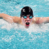 John P. Cleary | The Herald Bulletin<br /> Elwood's Chris Mendenhall swims the butterfly stroke during the boys 200 individual medley against Clinton Central Monday evening.